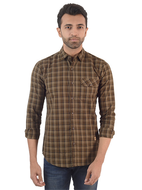 Olive Green Checked Shirt
