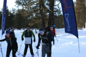 Skiing with great confidence across the finish line.