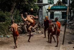 Burmese Monks Playing Chinlone