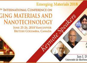 Emerging Materials and Nanotechnology, 20ème conférence internationale le 25-26 juin 2018, Vancouver