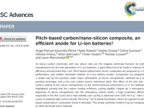 Nanomakers publie un article chez RSC Advances sur l'intérêt de nano Silicium dans les batteries