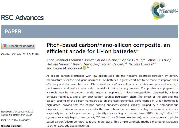 Publication RSC Advances_NMKS Si anode Li-ion batteries