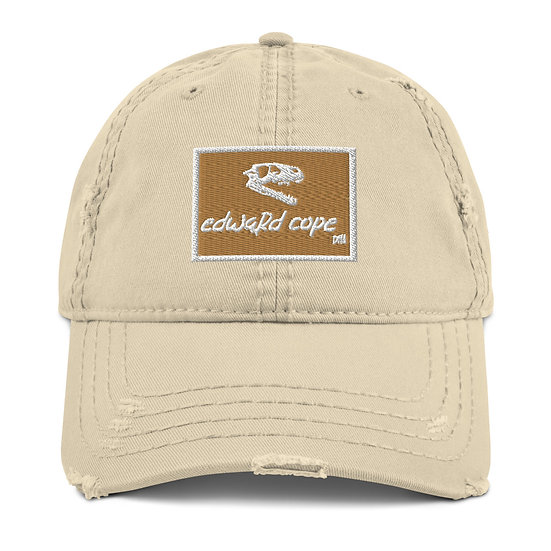 Boxed Distressed Dad Hat w/Skull Side (Old Gold/White)