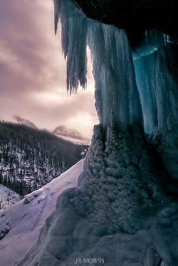 Under a frozen Panther Creek Falls