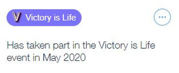 Victory is life badge.JPG