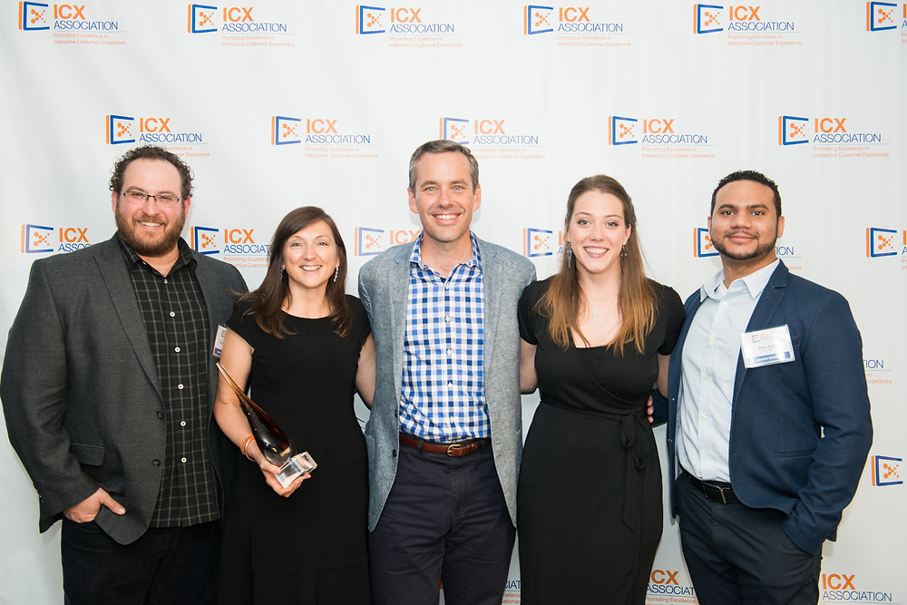 Left to right: Evan Burrows (Director - Digital Strategy & Innovation, Acorda Therapeutics), Donna Hampton (Managing Director, Telecine), Scott Slutcher (Executive Director, ICX), Renée Hampton (Project Manager, Telecine), Elvis Ruiz (Senior Manager Development - Digital Communications, Acorda Therapeutics).