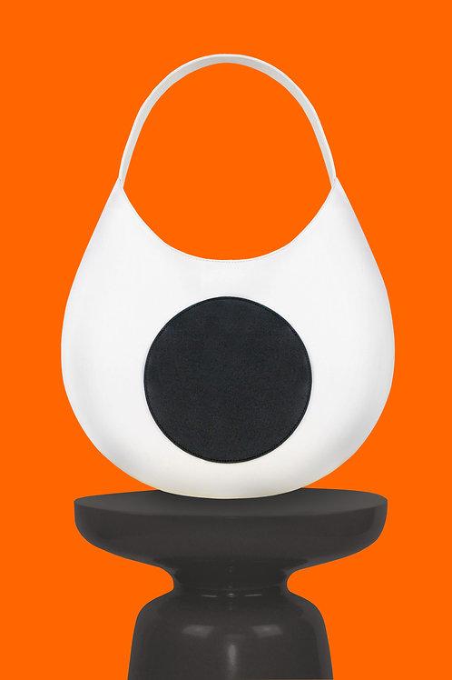 Jacinto Round Hobo in White & Black