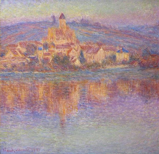 Monet. Vetheuil at sunset