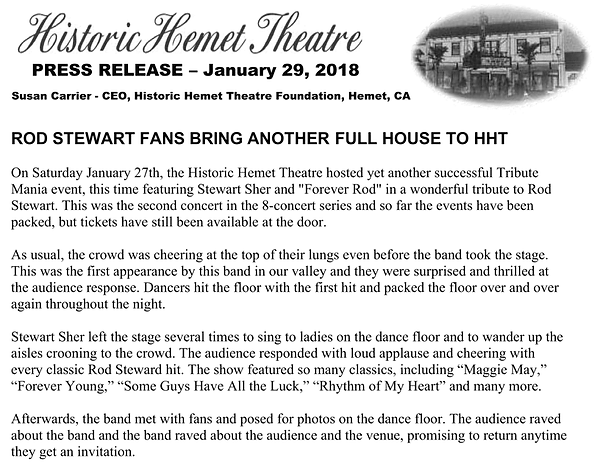Forever Rod Press Release at Historic Hemet Theater, January 2018