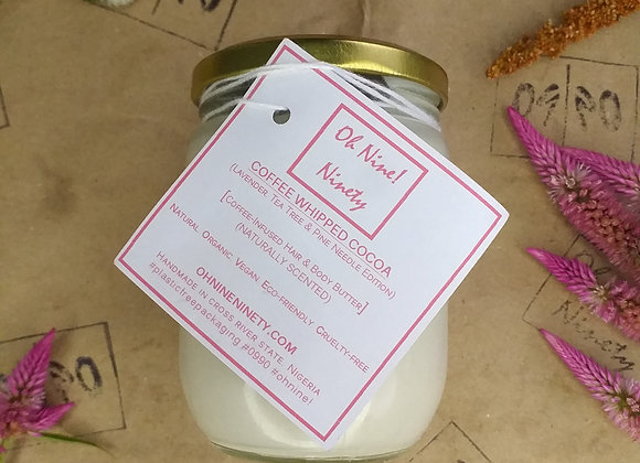 Oh Nine! Ninety whipped cocoa butter in glass jar with gold cover and card label on brown logo-stamped paper.