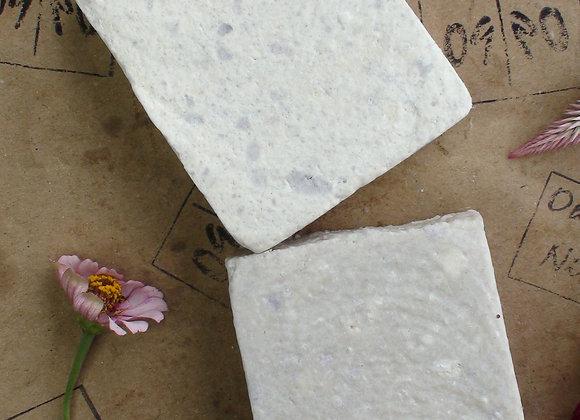 Oh Nine! Ninety Salty-Salty salt soap set on brown logo-stamped paper.