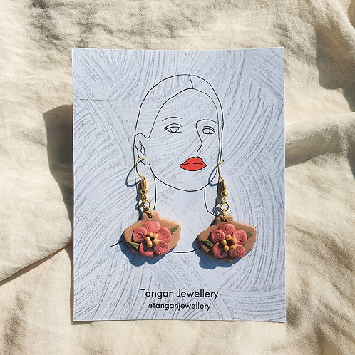 Hibiscus Seashell French Hook Earring