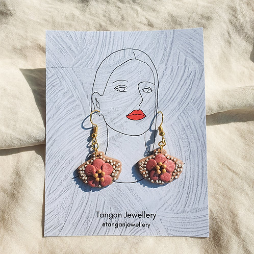 Hibiscus Seashell Faux Pearl French Hook Earring