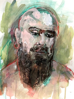 'Beard & Earing' ink&acrylic.42:30cm.jpg