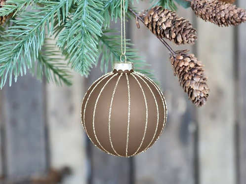 Caramel Bauble with Gold Stripes