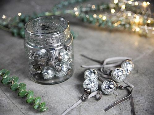 Adisa Bauble Jar - Antique Silver - Set of 16 Baubles