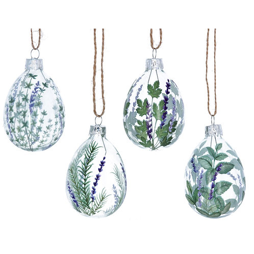 Set of 4 Glass Egg Dec - Herbs/Lavender