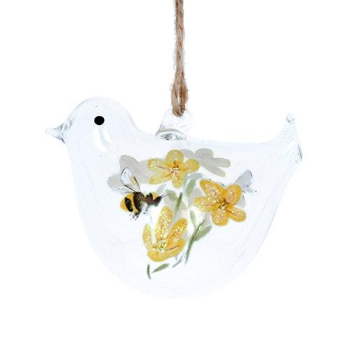Glass Bird Painted Buttercup Bee