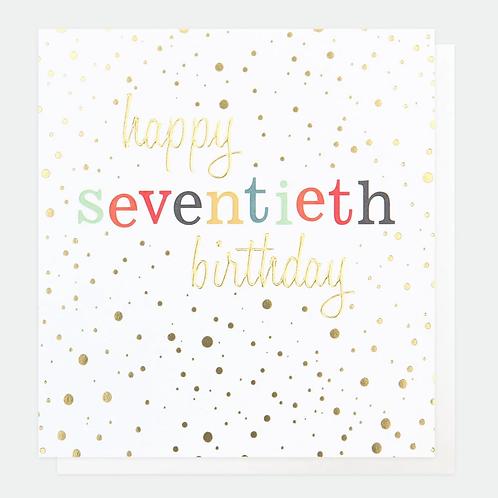Gold Confetti 70th Birthday Card