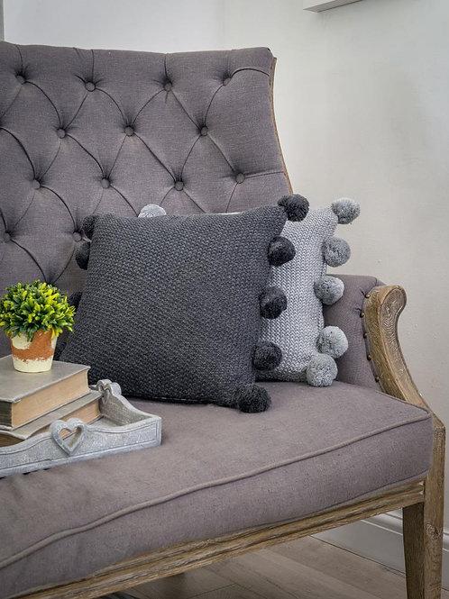 Charcoal Pom Pom Cushion