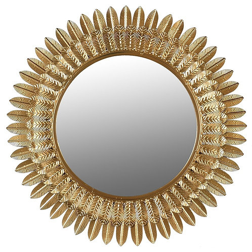 Leaf Edge Round Mirror
