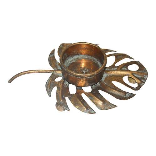 Claudia Gold iron candle holder monstera leaf