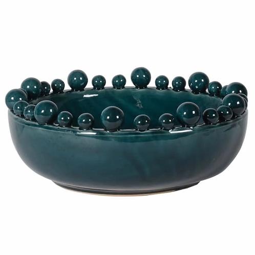 Teal Ceramic Bowl With Balls On Rim