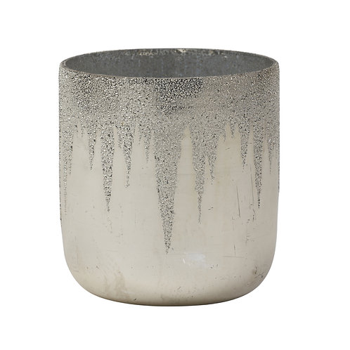 Flowly silver Glass tealight with sparkles round S