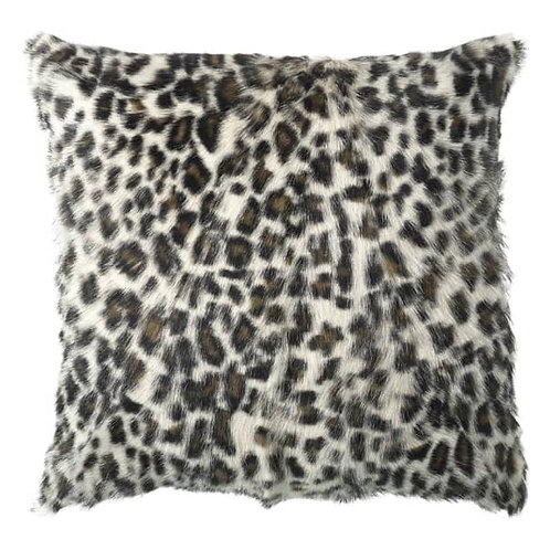 Square Leopard Print Goathide Cushion