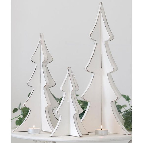 Retreat Christmas - Distressed White Standing Wooden Trees