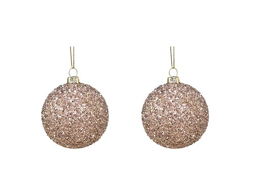 x2 Small Christmas Champagne Glitter Bauble