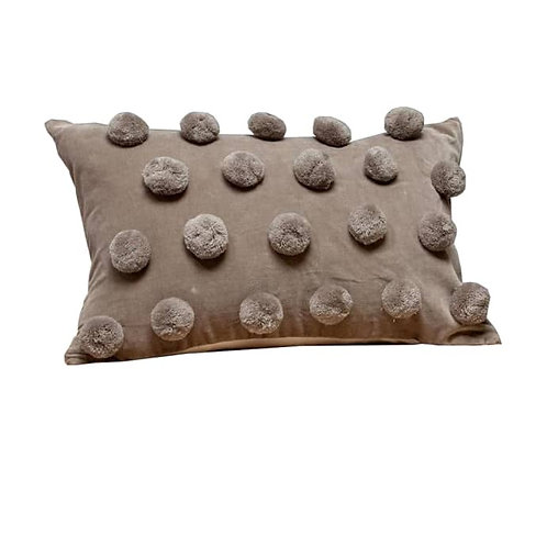 Grey Rectangular Pom Pom Cushion