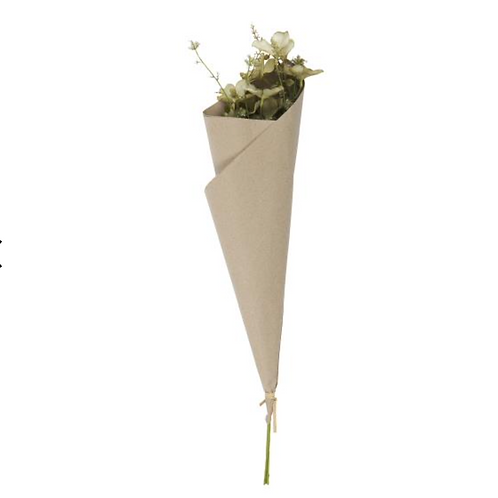 Bouquet wrapped in recycled Kraft paper green tones