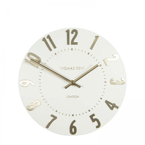 12 Inch Mulberry Ivory Champagne Small Wall Clock