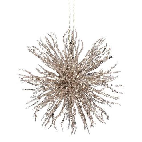 Pale Gold Glitterd Acrylic Starburst Ball Decoration