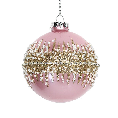 Pink/Gold Glitter Band Glass Bauble