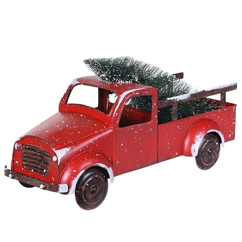 Lit Red Truck With Christmas Tree