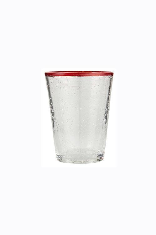 Handblown Drinking glass with red rim
