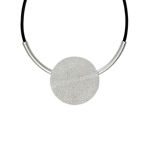 TRIXIE ROUND LEATHER NECKLACE SILVER PLATING