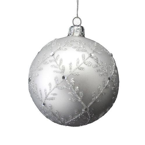 Matt White Ball w Silver Glitter Leaf Trellis