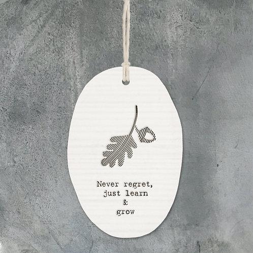 Porcelain hanger oak leaf-Never regret