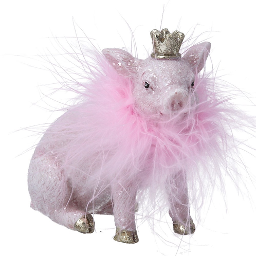Pink Resin Pig/Feather Boa Ornament
