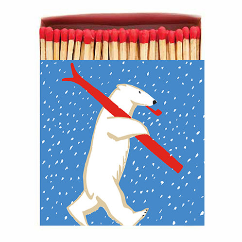 Polar Bear Matches in Square Printed Matchbox