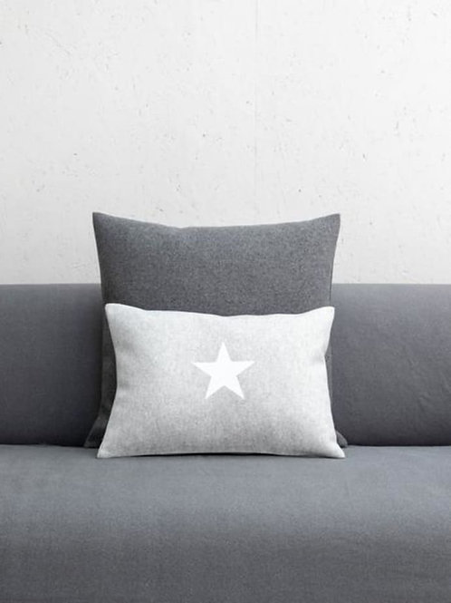 Silver Cushion with White Star