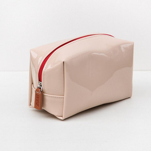 Caroline Gardner - Nude Patent Cube Cosmetic Bag