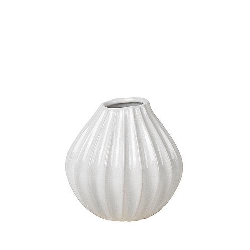 Ceramic Small  Ivory Ripple Vase