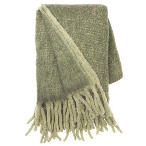 Olive Herringbone Mohair Throw