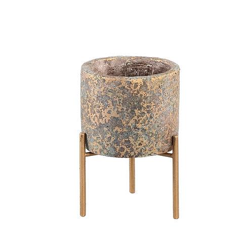 Krizz Gold Cement Pot Legs Round XS