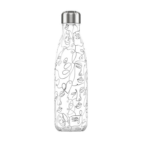 Line Art Faces 500ml Chilly's Water Bottle
