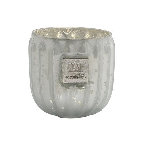 Caith white Glass tealight round ribbed